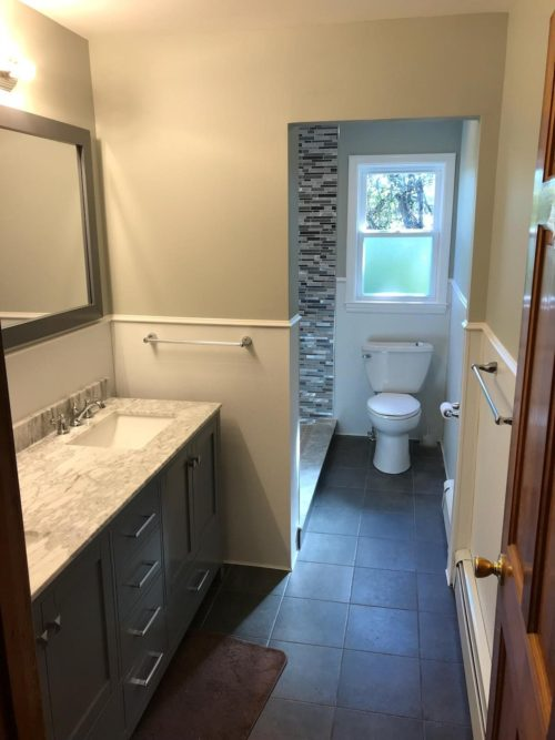 Renovated Full Bath with Double Sink Vanity
