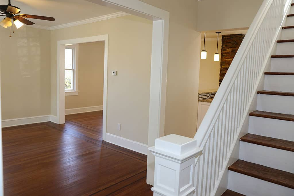 Renovated First Floor - View from Bottom of Staircase into Living Room