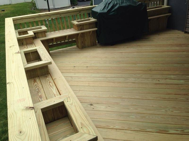 New Deck with Built-in Benches & Planters