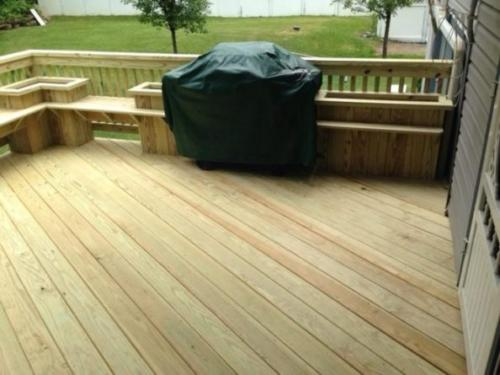 Renovated Deck with Built-in Benches & Planters