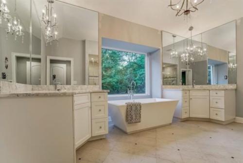 Renovated Master Bath with 2 Separate Vanities, Soaking Tub & Walk-in Shower